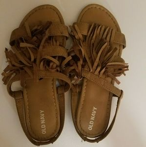 Brown Old Navy sandals with fringes size 2